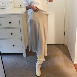 NWT Zara Metallic Satin Midi Skirt